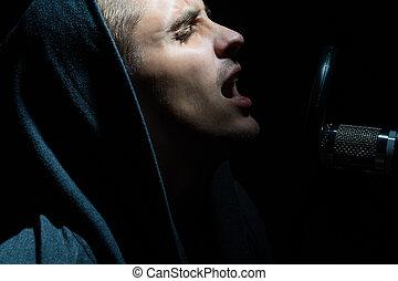 人, 歌うこと, 中に, レコーディングスタジオ, ∥で∥, マイクロフォン