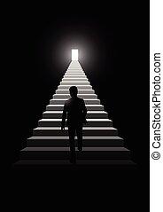人, 步驟, 上, 樓梯