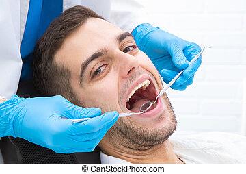 人, 歯科医, 微笑, 若い, オフィス