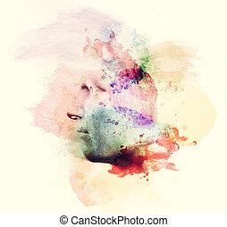 人, 水彩画の絵, 顔