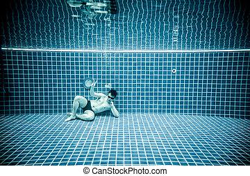 人, 水, うそ, 下に, プール, 水泳