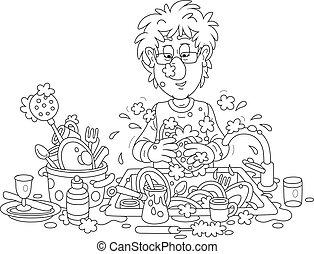 人, 洗涤菜, 在正餐后