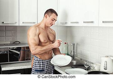 人, 洗涤, a, 盘子。