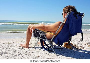 人, 浜, sunbathing, 海洋