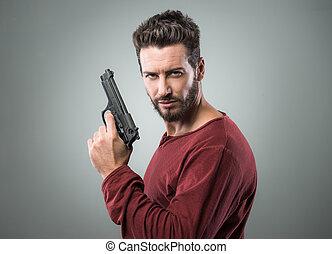 人, 涼しい, 銃, 保有物, 若い