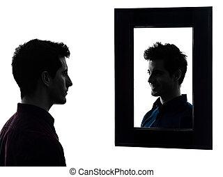 人, 深刻, の前, 彼の, 鏡, シルエット