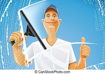 人, 清掃, 窗口, 橡皮掃帚, 水霧
