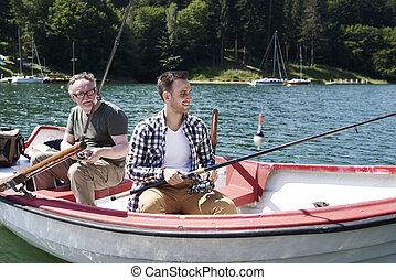 人, 湖捕魚