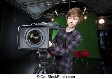 人, 準備, a, tvスタジオ, カメラ