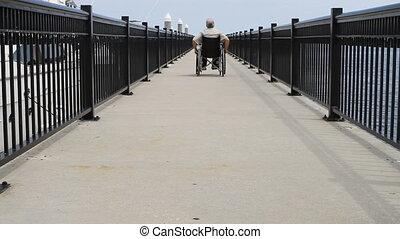 人, 滾動, 去, 在, 輪椅