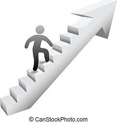 人, 爬樓梯, 到, 成功
