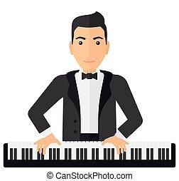 人, 玩, piano.