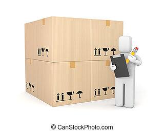 人, 由于, 剪貼板, 以及, 鉛筆, 在中間, 箱子