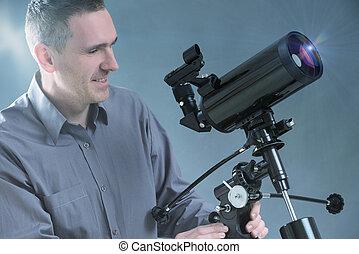 人, 由于, 望遠鏡
