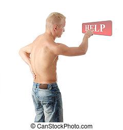 人, 由于, 痛苦, 在, 他的, 背, coling, 為, 幫助