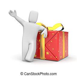 人, 由于, 禮物, box., 圖像, 包含, 裁減路線