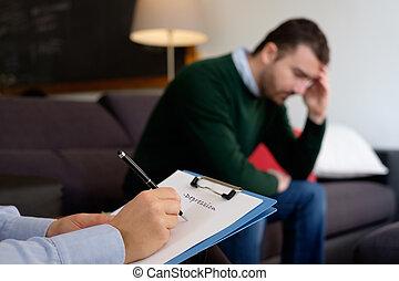 人, 由于, 精神健康, 問題, 在, the, 精神病醫生, 工作室