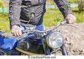 人, 由于, 老, 摩托車