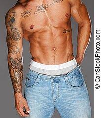 人, 由于, 被刺花樣, 肌肉, 軀幹, 在, 牛仔褲