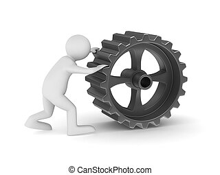 人, 由于, 齒輪, 在懷特上, 背景。, 被隔离, 3d, 圖像