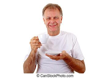 人, 由于, a, 咖啡茶杯