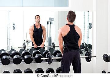人, 由于, dumbbell, 重量訓練, 設備, 體操