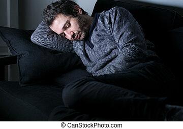 人, 疲倦, 同时,, 压抑, 躺