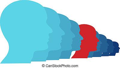 人 , 看, 前面, 在, 新, 未来, 在中, 团体