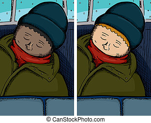 人, 眠ったままで, 上に, バス