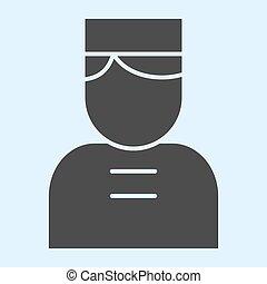 人 , 矢量, glyph, cap., 网, eps, 白色, 风格, 看门人, 设计, 10., 固体, horeca, 概念, 门, app., 人, 背景, 使用, pictogram, icon., 旅馆