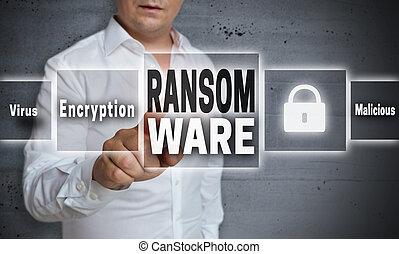人, 示されている, 概念, 背景, ransomware