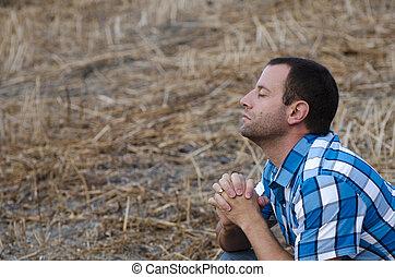 人, 祈祷, 单独, 在上, a, hillside.