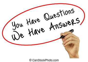 人, 私達, 質問, 技術, 写真, concept., screen., 隔離された, 答え, 執筆, ...