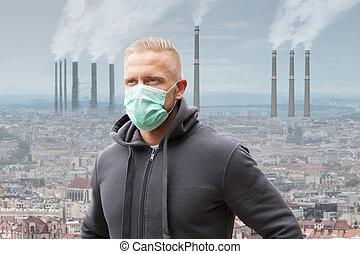 人, 穿, 嘴, 伪装, 对, 空气污染