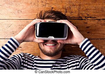 人, 穿, 虛擬現實, goggles., 演播室 射擊, 木制, 背景