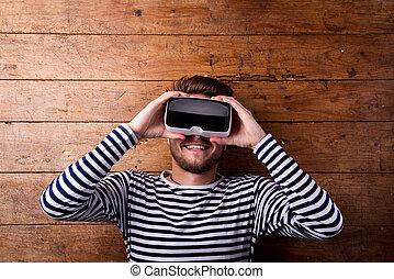 人, 穿, 虛擬現實, goggles., 演播室 射擊, 木制, backgro