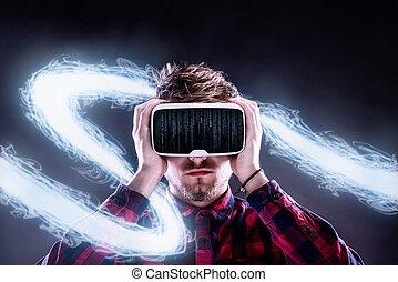人, 穿, 虛擬現實, goggles., 演播室 射擊, 黑色, backgrou