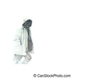人, 穿, 風雪大衣, 步行, 在, 北極, 大風雪, 雪