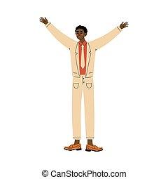 人, 立つ, ベクトル, イラスト, 手, 彼の, 漫画, の上, 上げること