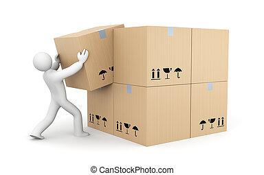 人, 箱子, 工作