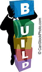 人, 箱, 建造しなさい, ビジネス, 山