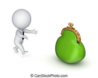 人, 綠色, 跑, 3d, purse., 小