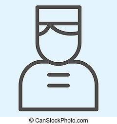 人 , 线, 矢量, cap., 网, eps, 白色, 风格, 看门人, 设计, 10., 固体, horeca, 概念, 门, app., 人, 背景, 使用, outline, pictogram, icon., 旅馆