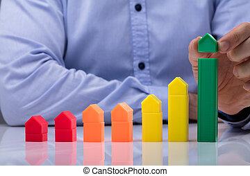 人, 置くこと, 小さい, 緑の家, の上, 増加, グラフ
