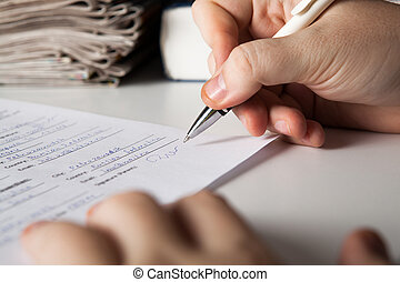 人, 署名, a, 契約