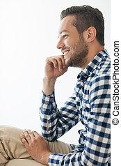 人, 肖像画, 微笑, ハンサム, サイド光景