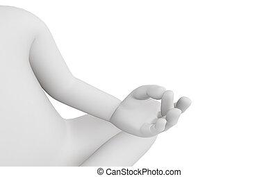 人, 能力を発揮しなさい, ヨガ, 瞑想, 3d