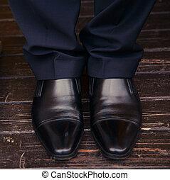 人, 腿, 在, 鞋子, 在地板上