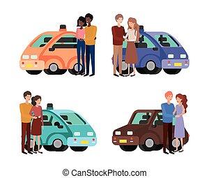 人, 自動車, デザイン, セット, 女, 恋人, ベクトル