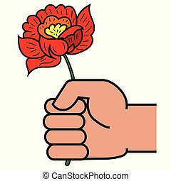 人, 花, 赤, 手を持つ